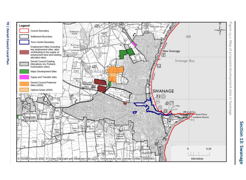Map of the proposed development areas for Swanage
