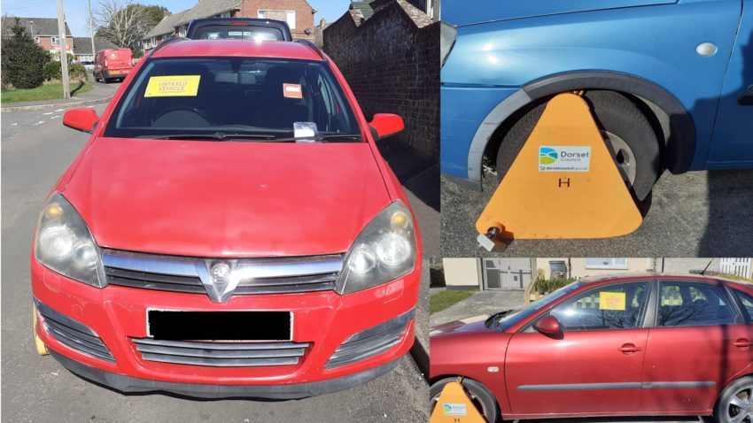 Abandoned cars clamped by Dorset Council