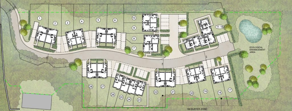 Site plan showing the layout of the housing development