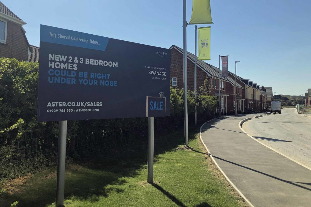 Affordable housing sign at Compass Point development