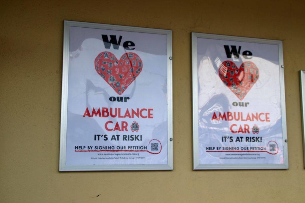 Ambulance car posters at The Mowlem