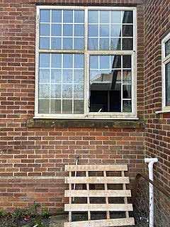 Broken window at Grammar School