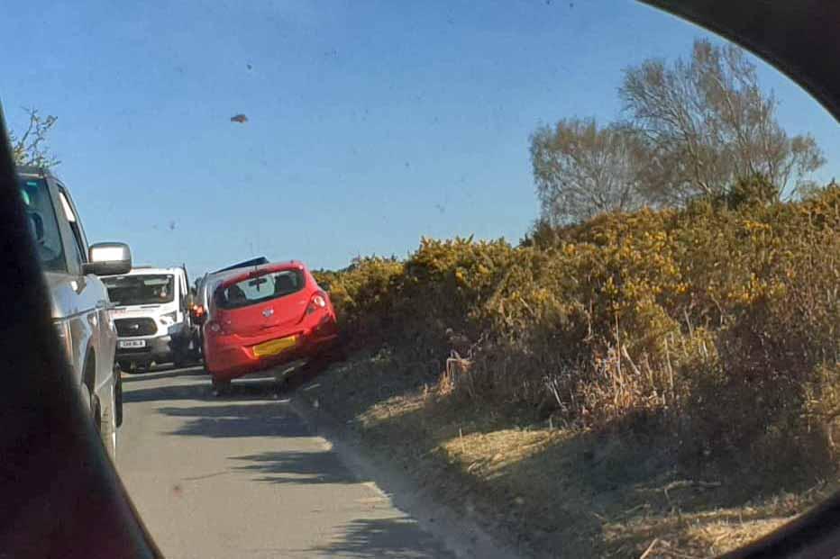 Cars stuck in traffic queue