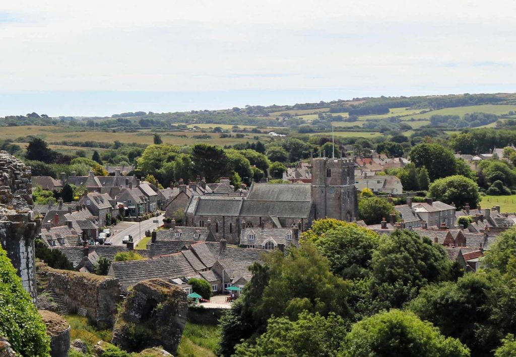 Aerial view of Corfe Castle