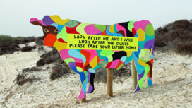 Cow information board at Studland