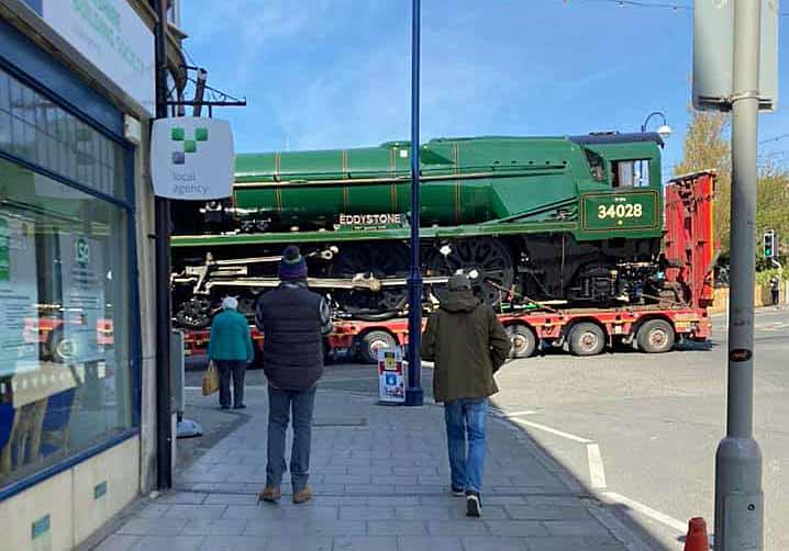 Steam locomotive Eddystone being transported through Swanage