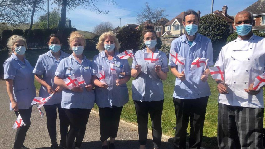 Staff at the Gainsborough Care Home with flags
