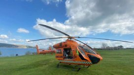 Air Ambulance landed on the Downs
