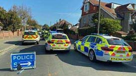Police attend the a three car collision in Northbrook Road, Swanage