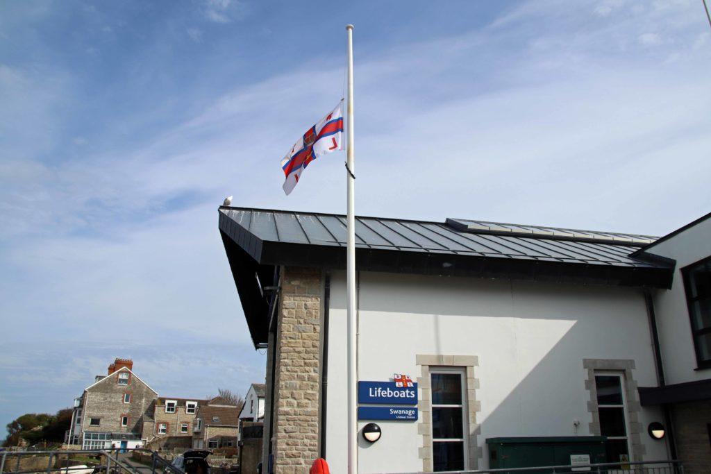 Flag at half mast at Swanage Lifeboat Station
