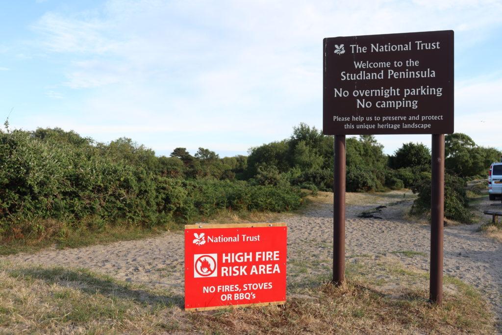 Fire risk sign at Studland