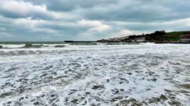 Stormy sea and waves at Swanage