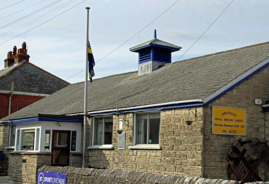 Flag at half mast at Swanage Royal British Legion