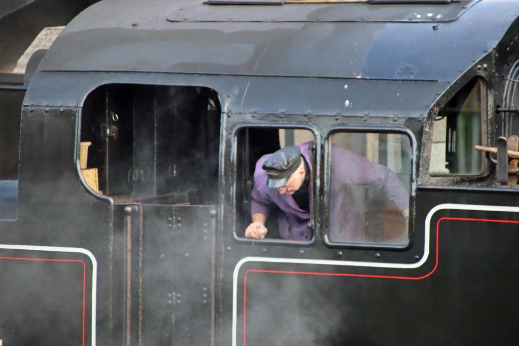 Swanage Railway rain and driver