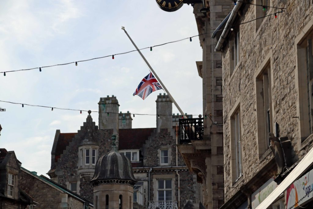 Flag at half mast at Swanage Town Hall
