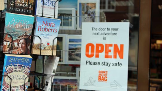 Swanage Bookshop open sign