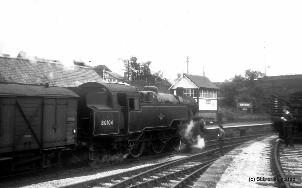 80104 on a goods train at Minffordd, 8th July 1965