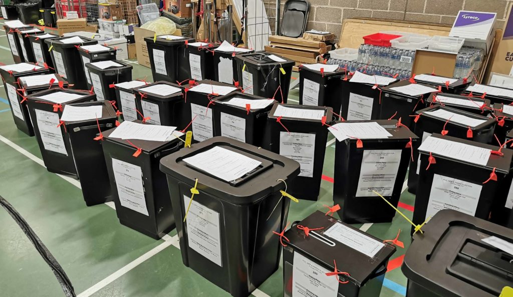 Election Ballot boxes ready to be counted