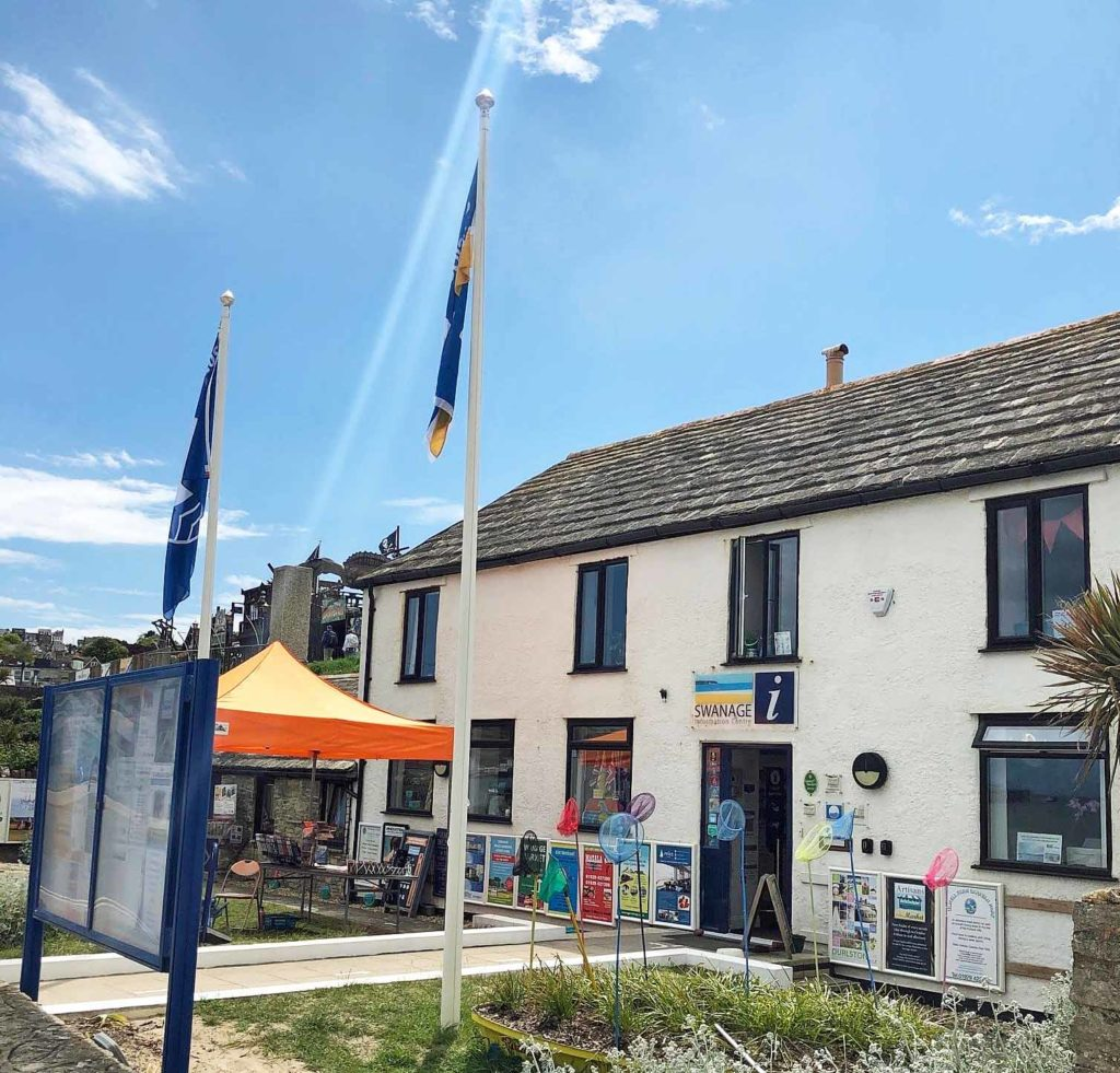 Flags flying outside Swanage Information Centre