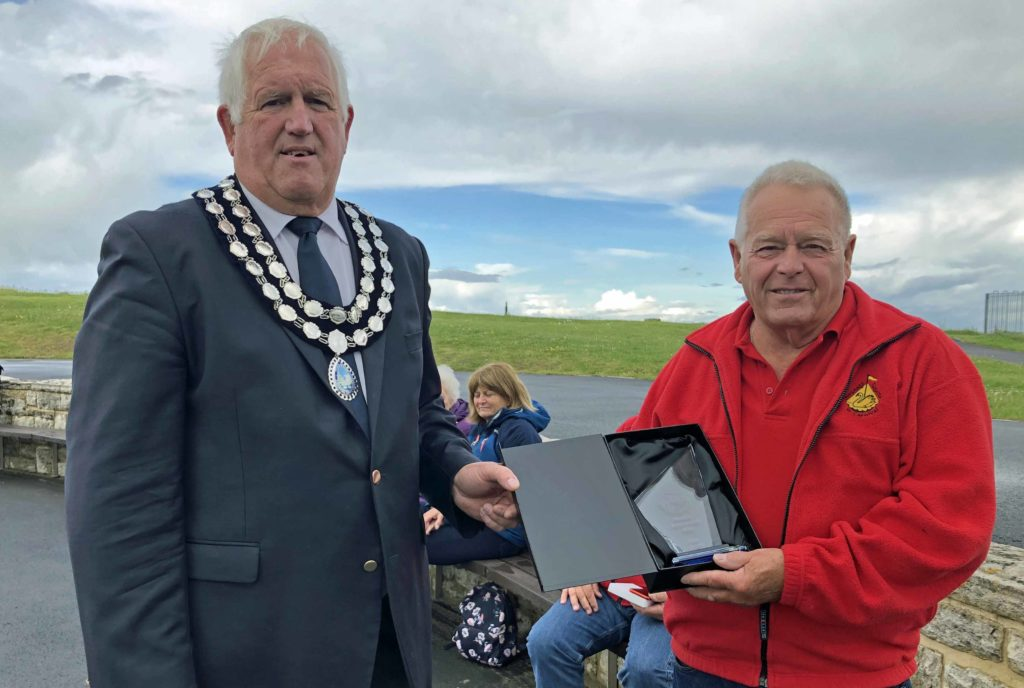 Dave Terrett presented with his award by Mike Bonfield