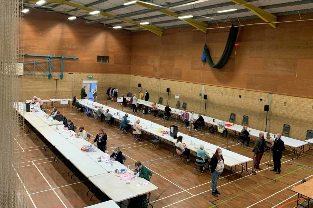 Counting under way of votes in the election