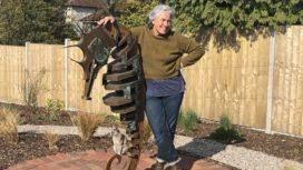 Eilidh Middleton and her seahorse sculpture