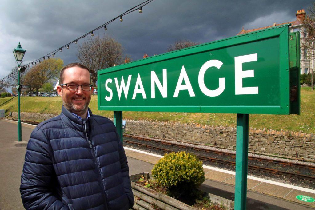 Jonathan Evans on Swanage platform