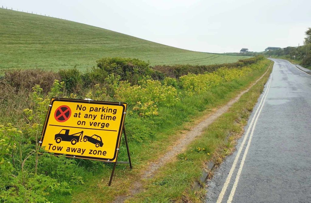 Signs for Lulworth tow away zone