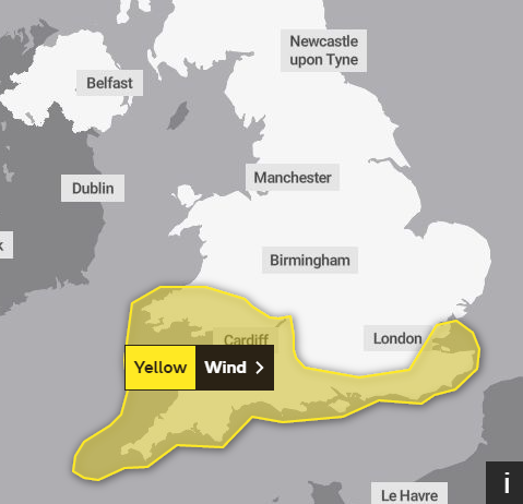 Met Office yellow wind warning for the south west