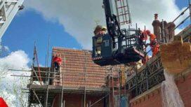 Roofer being rescued in Wareham