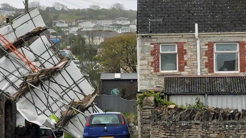 Scaffolding fallen over in Morrison Road