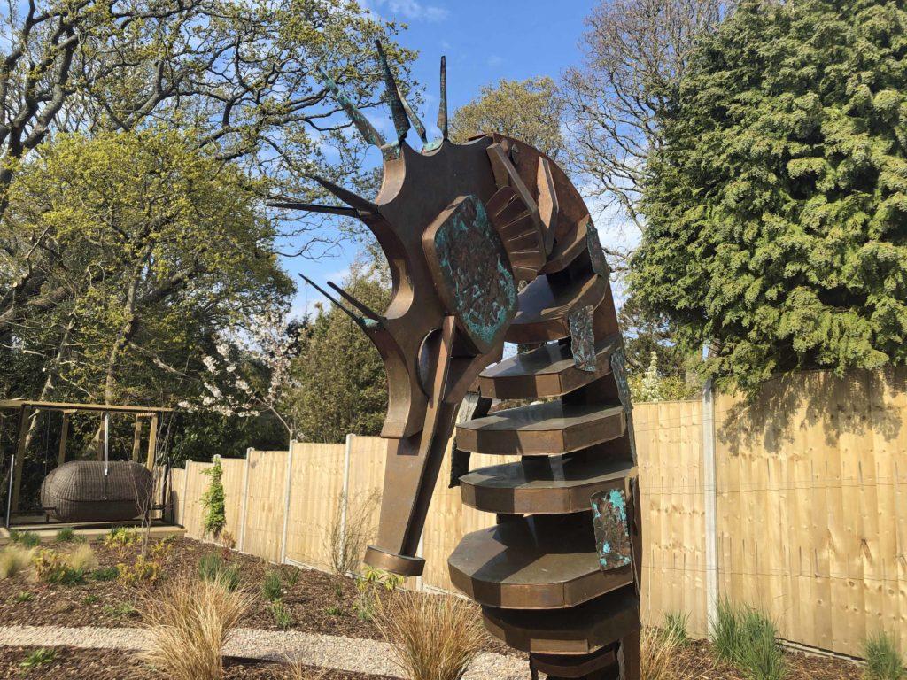 Seahorse sculpture in garden