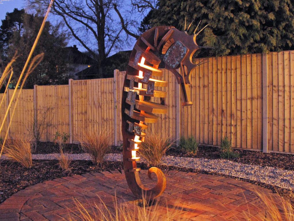 Seahorse sculpture lit up