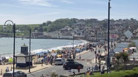 Shore Road in Swanage on Bank Holiday weekend at end of May