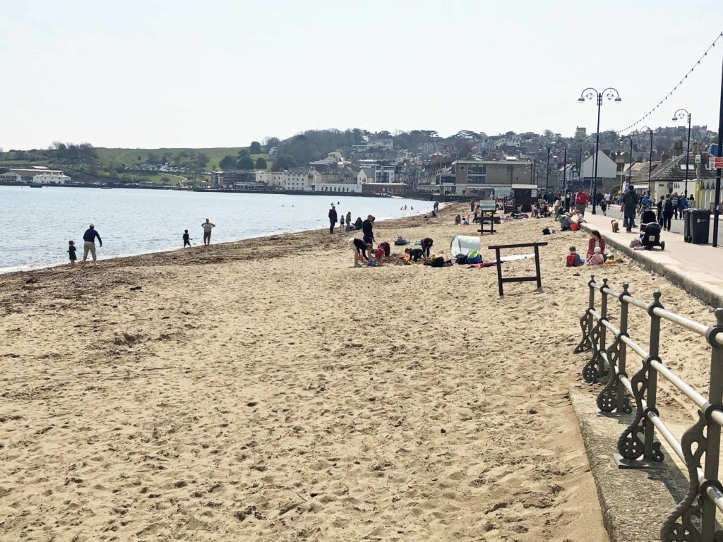 Swanage Beach after seaweed removal