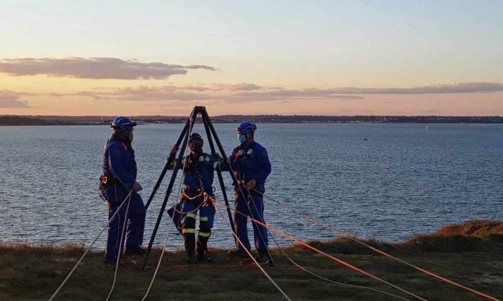 Swanage Coastguard training at Old Harry Rocks