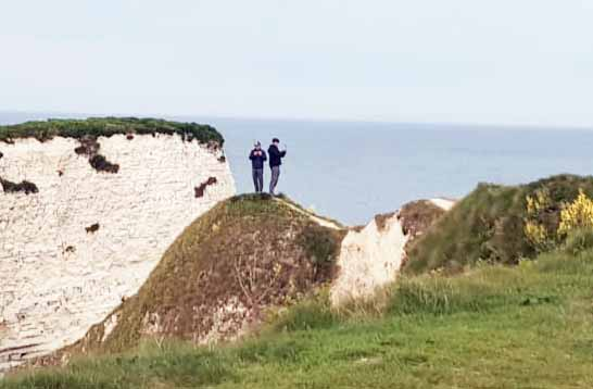 Two people at Old Harry Rocks