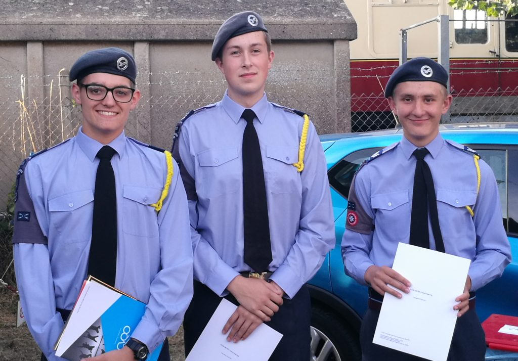 Three air cadets with awards