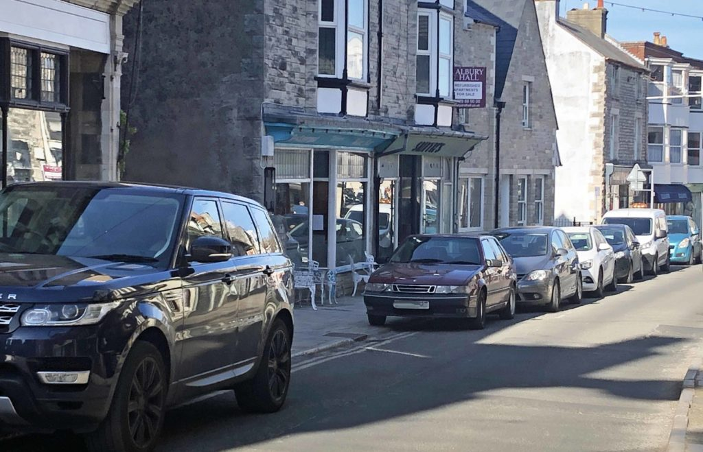 Cars parked on streets in Swanage