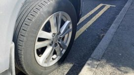 Car parked on double yellow line in Swanage