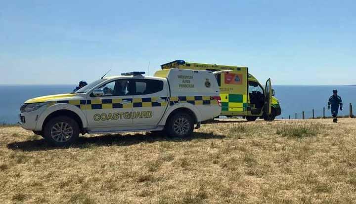 Coastguard and ambulance at Lulworth