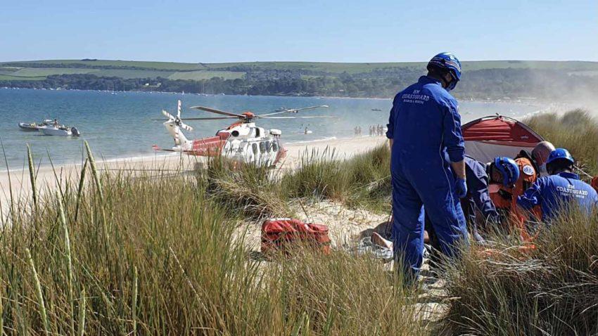 Coastguard rescue at Studland