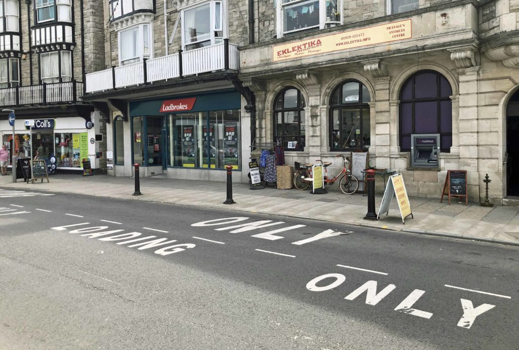 Loading bays in Swanage town centre