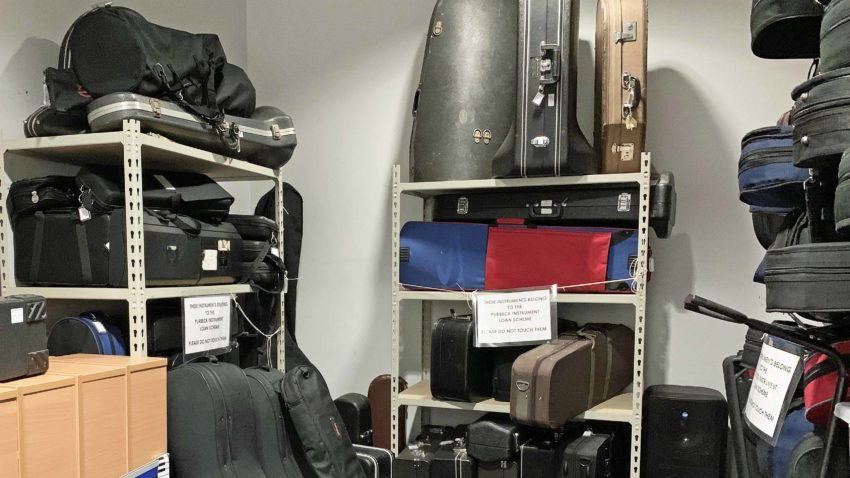Musical instruments in cupboard