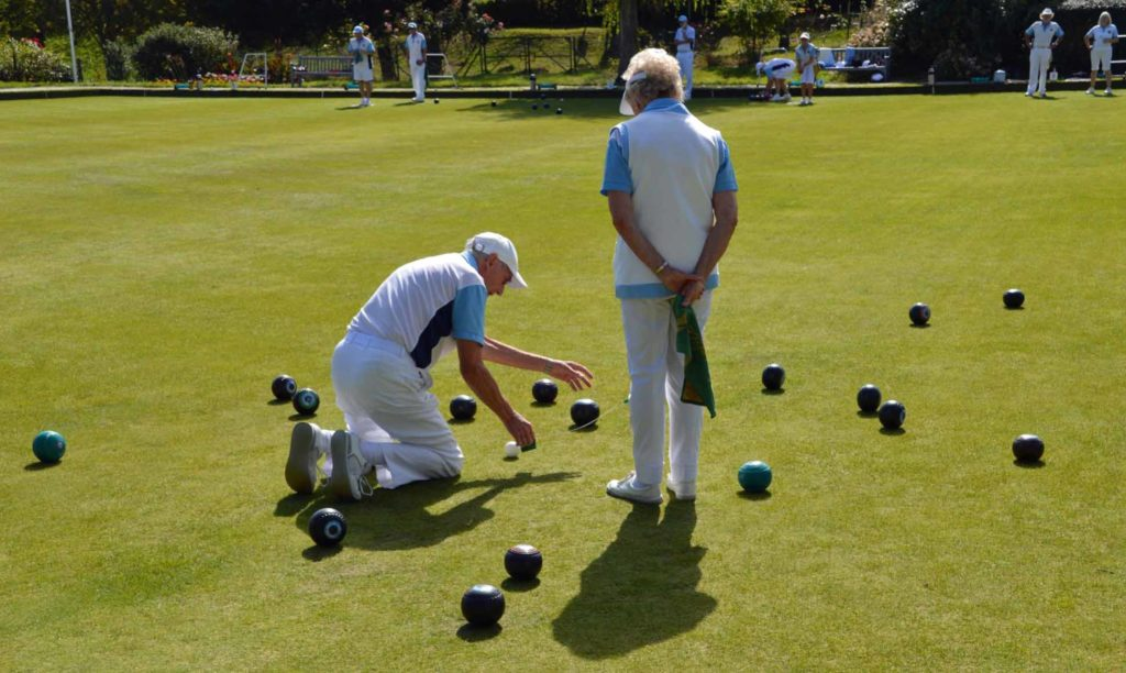 People playing bowls at Swanage Bowling Club