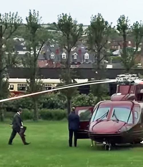 Princess Royal leaving Swanage in a helicopter