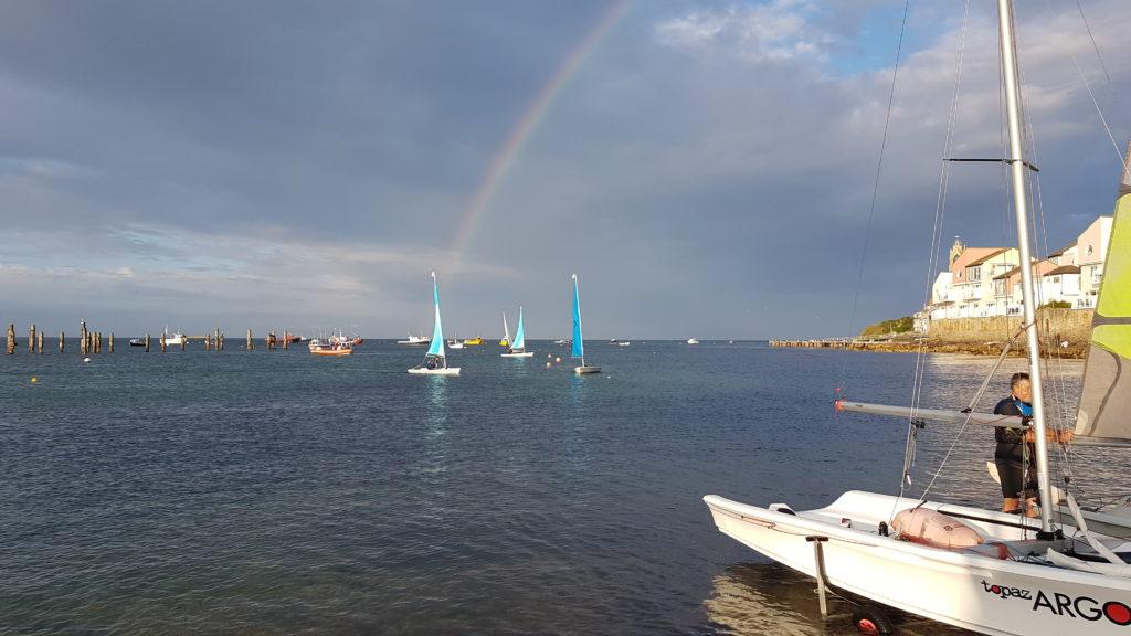 Rainbow over the sailors