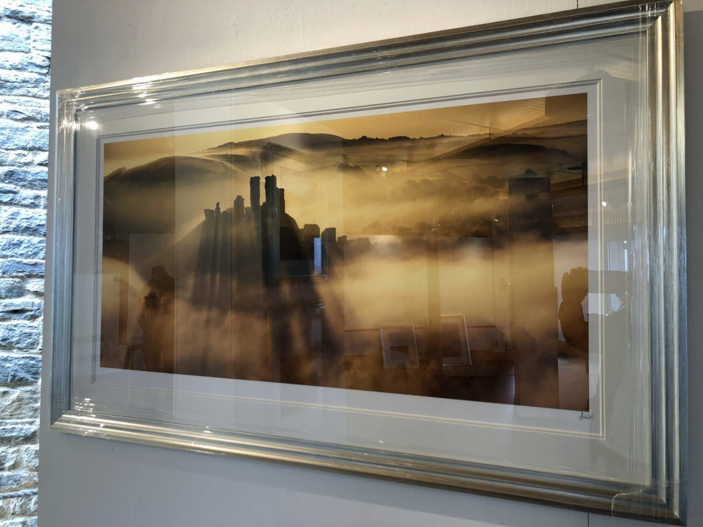 A print of Corfe Castle in the mist by Andy Farrer