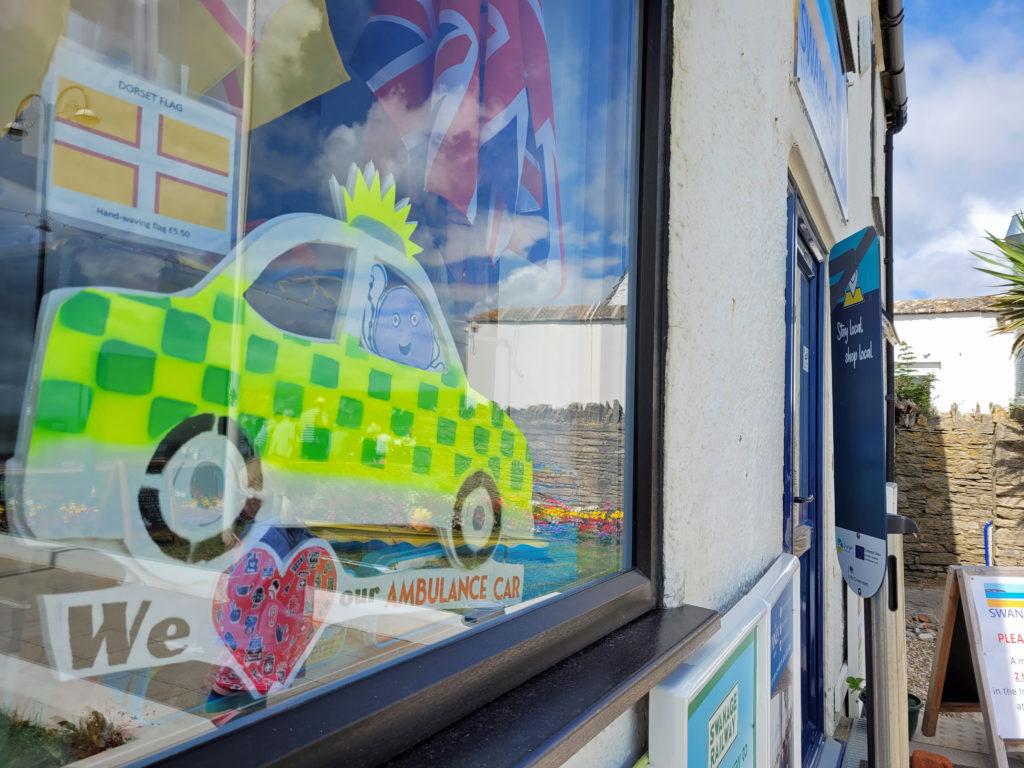 Swanage Ambulance Car trail in window