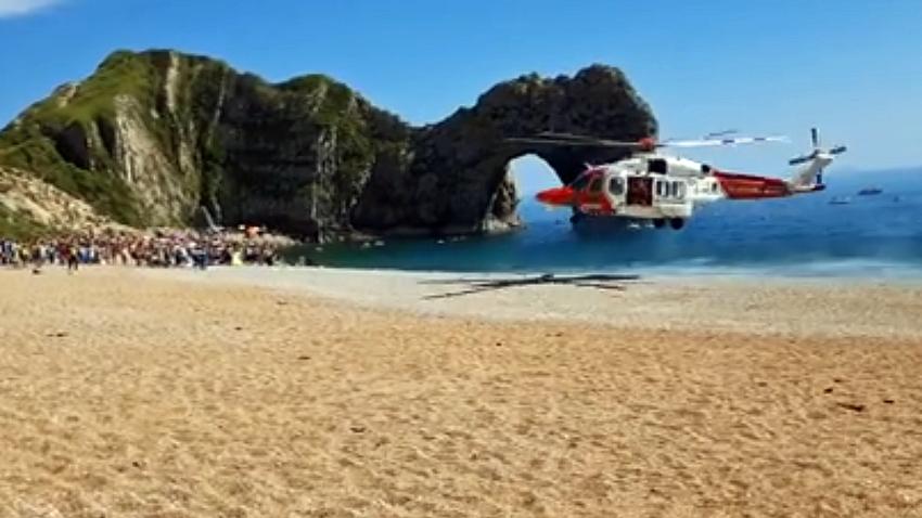 Coastguard helicopter rescue at Durdel Door